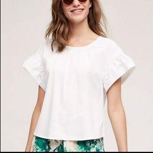 🔥Maeve Anthro white ruffle sleeve structured 10